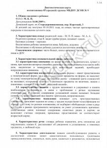 Диагностическая карта воспитанника ДОУ